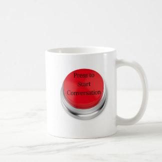 Drücken Sie, um Gesprächs-Kaffee-Tasse anzustellen Kaffeetasse