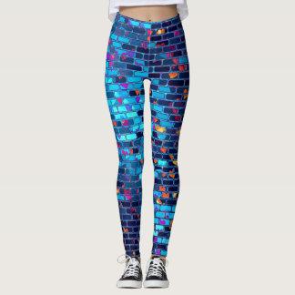 Druckgamaschen-blaue Mosaik-Fliese Leggings
