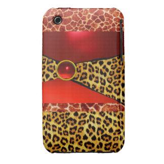 DRUCKgiraffen-LEOPARD-HAUT-ROTER KARMINROTER iPhone 3 Case-Mate Hüllen