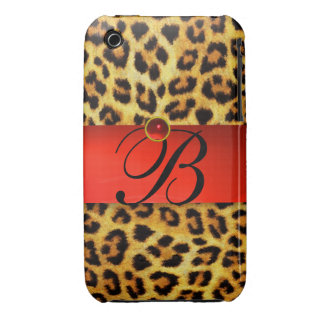DRUCKleopard-PELZ-ROTES KARMINROTES iPhone 3 Cover