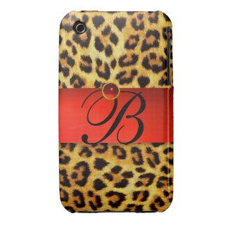 DRUCKleopard-PELZ-ROTES KARMINROTES iPhone 3 Hülle