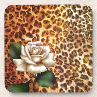 Druckleopard-Weiß-Rose des Aufenthalt-wilden Getränkeuntersetzer