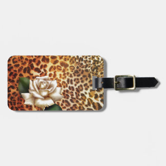 Druckleopard-Weiß-Rose des Aufenthalt-wilden Kofferanhänger