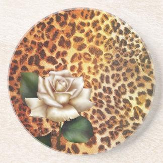 Druckleopard-Weiß-Rose des Aufenthalt-wilden Sandstein Untersetzer