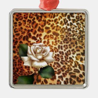 Druckleopard-Weiß-Rose des Aufenthalt-wilden Silbernes Ornament