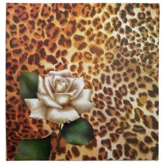 Druckleopard-Weiß-Rose des Aufenthalt-wilden Stoffserviette