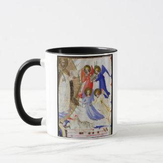 ds 558 f.67v St Dominic mit vier musikalischen Tasse