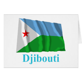 Dschibuti, das Flagge mit Namen wellenartig bewegt Karte