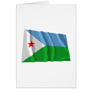 Dschibuti, das Flagge wellenartig bewegt Karte