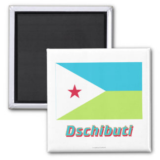 Dschibuti Flagge MIT Namen Quadratischer Magnet
