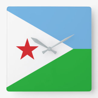 Dschibuti-Flagge Quadratische Wanduhr