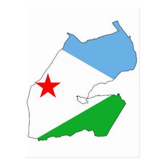 Dschibuti-Flaggenkarte DJ Postkarte