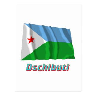 Dschibuti Fliegende Flagge MIT Namen Postkarte
