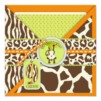 Dschungel-Affe-9. Geburtstags-Einladungs-Orange Quadratische 13,3 Cm Einladungskarte