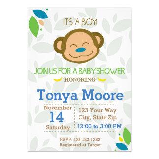 Dschungel-Affe-blaue Babyparty-Einladung Karte