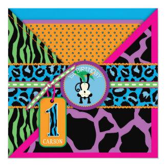 Dschungel-Affe-erste Geburtstags-Einladung wild Quadratische 13,3 Cm Einladungskarte
