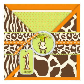 Dschungel-Affe-erste Geburtstags-Einladungs-Orange Personalisierte Ankündigungskarte