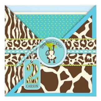 Dschungel-Affe-zweites Geburtstags-Einladungs-Blau Einladungskarte