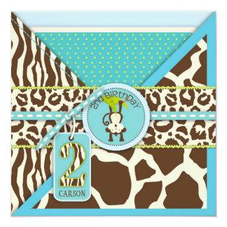 Dschungel-Affe-zweites Geburtstags-Einladungs-Blau Quadratische 13,3 Cm Einladungskarte