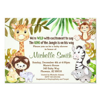 Dschungel-Babyparty-Einladung, Safari-Einladung Karte