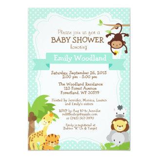 Dschungel-Babypartyeinladungsblau 12,7 X 17,8 Cm Einladungskarte