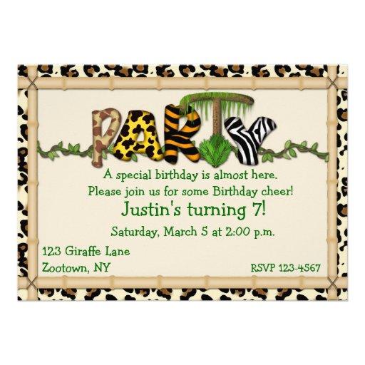Dschungel-Druck-Geburtstags-Party Individuelle Einladungskarte