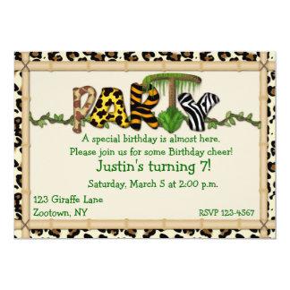 Dschungel-Druck-Geburtstags-Party 12,7 X 17,8 Cm Einladungskarte