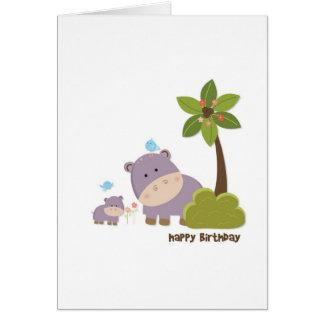 Dschungel-Flusspferd-Geburtstags-Karte Karte
