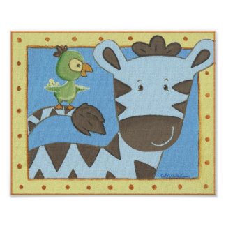 Dschungel-Geschichtenzebra-Kinderzimmer-Wand-Kunst Poster