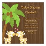 Dschungel-Giraffen-mehrfache Babyparty-Einladungen