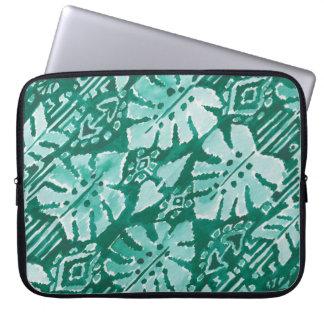 DSCHUNGEL IKAT hawaiisches grünes Stammes- Laptop Sleeve