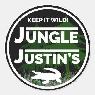 Dschungel-Justin-Aufkleber Runder Aufkleber