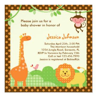 Dschungel-Safari-Babyparty-Einladung Quadratische 13,3 Cm Einladungskarte