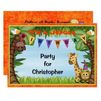 Dschungel-Safari-Geburtstags-Party Einladung