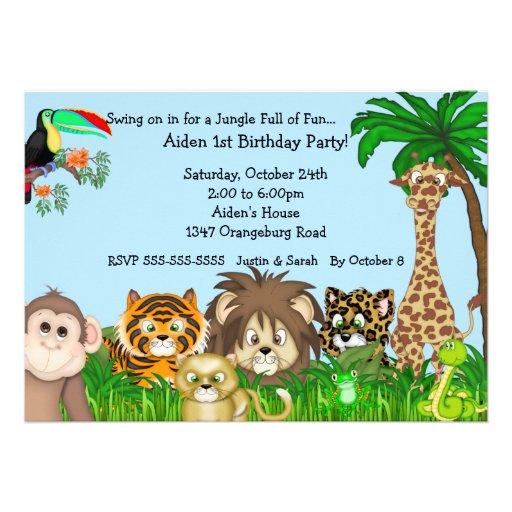 Dschungel-Safari-Spaß Birthay Party Personalisierte Ankündigungskarten