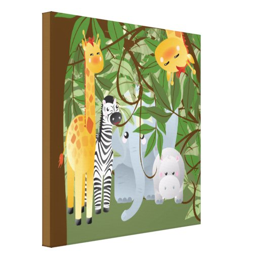 Dschungel-Safari-Tier-Kinderraum-Leinwand-Druck Leinwanddruck