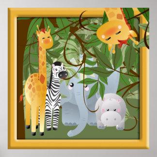 Dschungel-Safari-Tier-Kinderraum-Plakat Poster