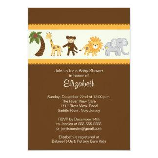 Dschungel-Safari-tierische neutrale Babyparty 12,7 X 17,8 Cm Einladungskarte