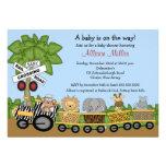 Dschungel-Safari-Zug-neutrale Babyparty-Einladung
