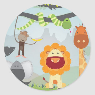 Dschungel-Spaß Runder Aufkleber