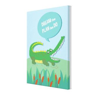 Dschungel-Tierkrokodil _inspirierend Kinderzitat Leinwanddruck