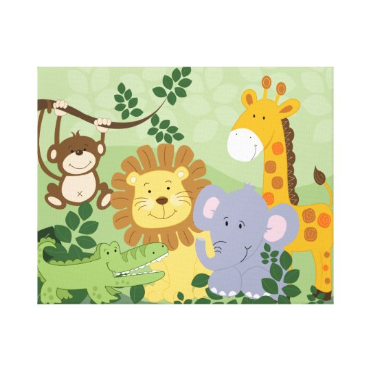 dschungel tiersafari kinderzimmer kunst leinwand 1 leinwanddruck zazzle. Black Bedroom Furniture Sets. Home Design Ideas