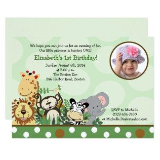 Dschungel-Zoo-Party-Geburtstags-Einladung mit Foto Karte