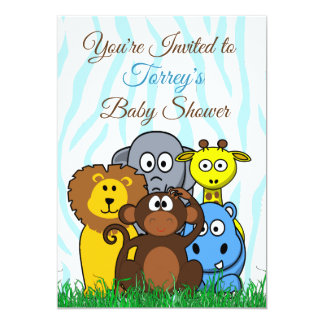 Dschungel-Zoo-Tier-Babyparty-Einladung Karte
