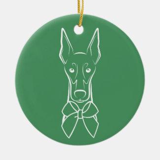 DTDR Feiertags-Verzierung - geernteter Dobermann Keramik Ornament