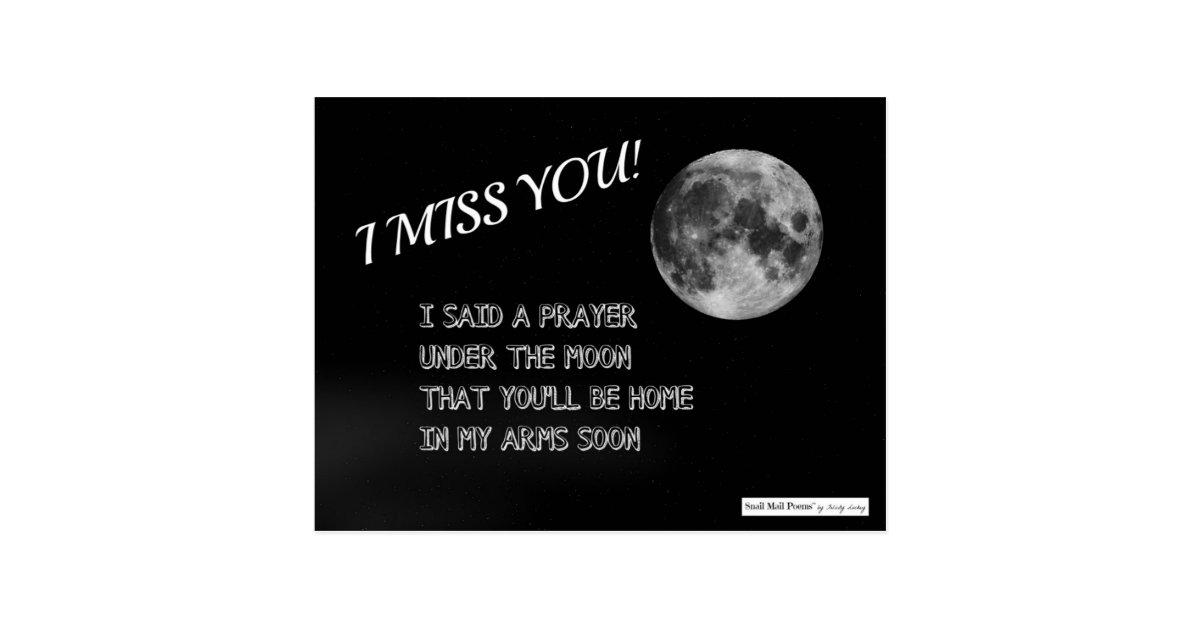 Du fehlst mir Gedicht: Gebet unter dem Mond Postkarte