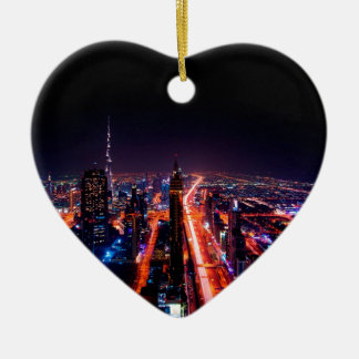 Dubai-NachtSkyline Keramik Herz-Ornament