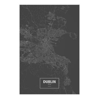 Dublin, Irland (weiß auf Schwarzem) Poster