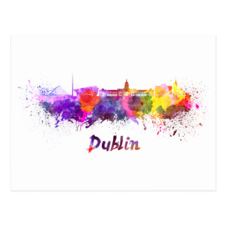 Dublin skyline im Watercolor Postkarte