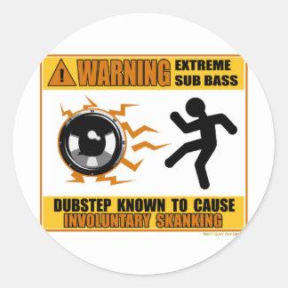 DUBSTEP, das extremen Baß warnt Runder Aufkleber